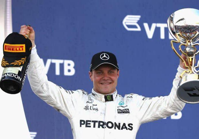 SOCHI, RUSSIA - APRIL 30:  Race winner Valtteri Bottas of Finland and Mercedes GP celebrates on the podium during the Formula One Grand Prix of Russia on April 30, 2017 in Sochi, Russia.  (Photo by Mark Thompson/Getty Images)