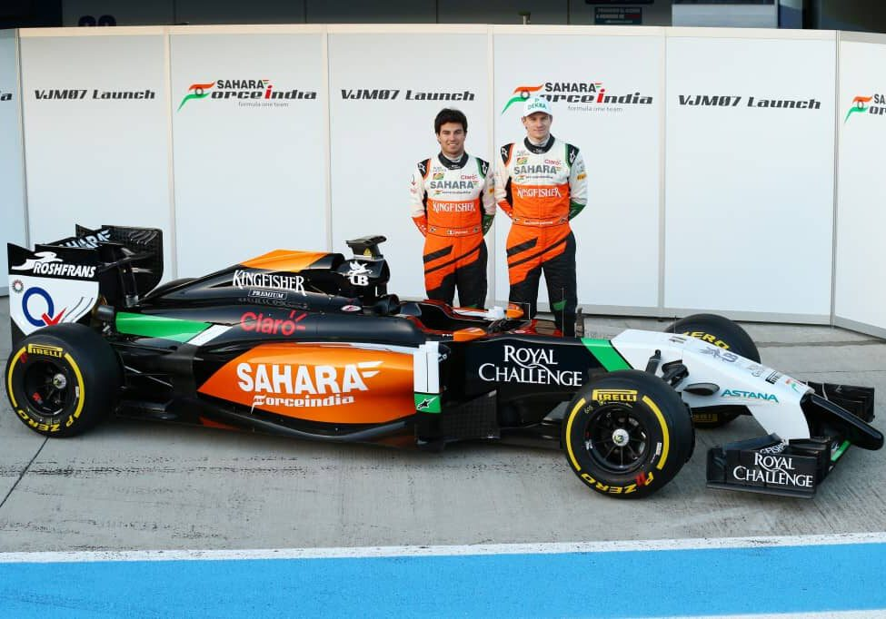 (L to R): Sergio Perez (MEX) Sahara Force India F1 and team mate Nico Hulkenberg (GER) Sahara Force India F1 unveil the new Sahara Force India F1 VJM07. Formula One Testing, Day One, Tuesday 28th January 2014. Jerez, Spain.