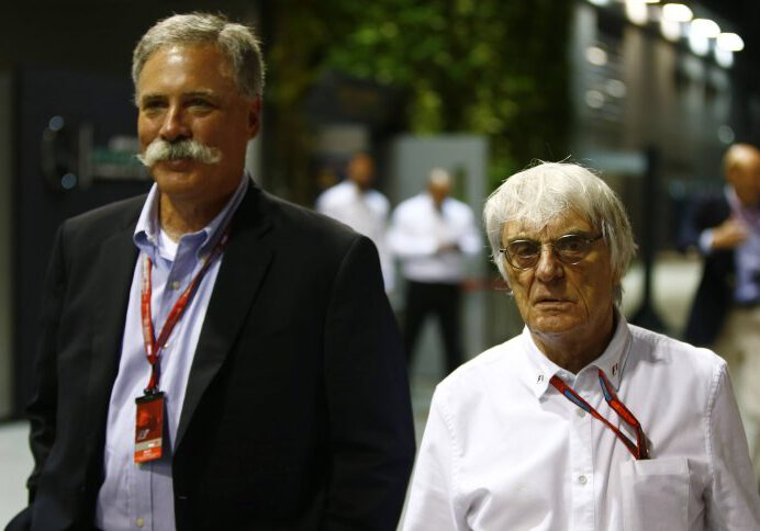 Marina Bay Circuit, Marina Bay, Singapore. Friday 16 September 2016. Bernie Ecclestone, CEO and President, FOM with Chase Carey of Liberty Media. World _ONZ8382 PUBLICATIONxINxGERxSUIxAUTxHUNxONLY  Marina Bay Circuit Marina Bay Singapore Friday 16 September 2016 Bernie Ecclestone CEO and President FOM with Chase Carey of Liberty Media World  PUBLICATIONxINxGERxSUIxAUTxHUNxONLY